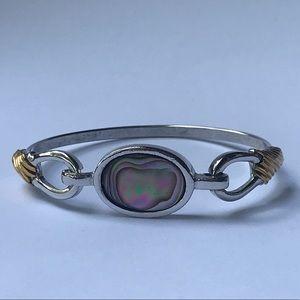Avon ABALONE SHELL Sleek Gold Silver Tone Bracelet
